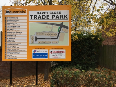 Large commercial siteboard contructed from aluminium composite sheets for entrance to industrial estate